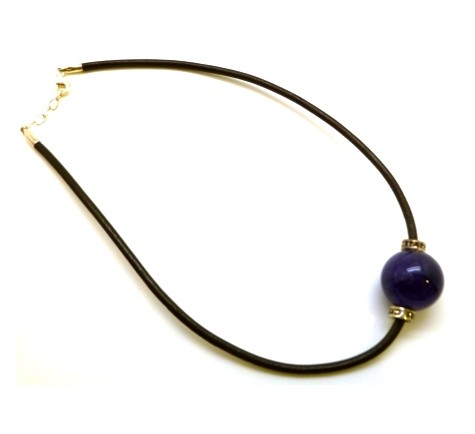 NECKLACE BROWN LEATHER-STONE